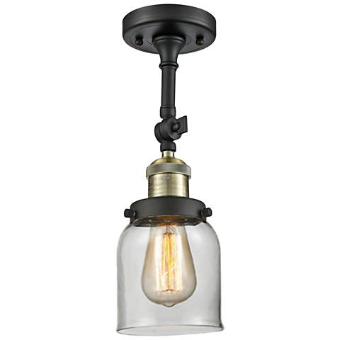 """Small Bell 5"""" Wide Black and Brass Adjustable Ceiling Light"""