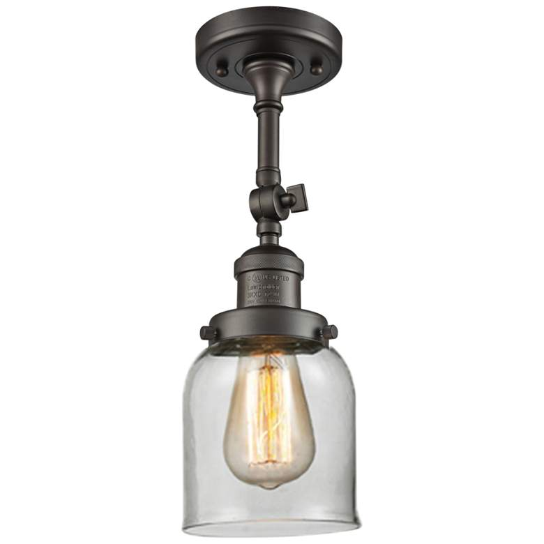"""Small Bell 5""""W Oil-Rubbed Bronze Adjustable Ceiling Light"""