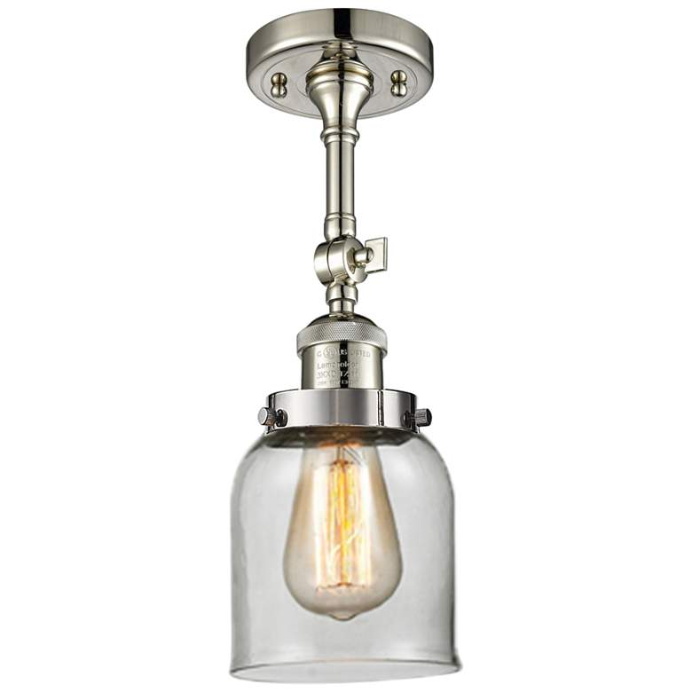 "Small Bell 5"" Wide Polished Nickel Adjustable Ceiling Light"