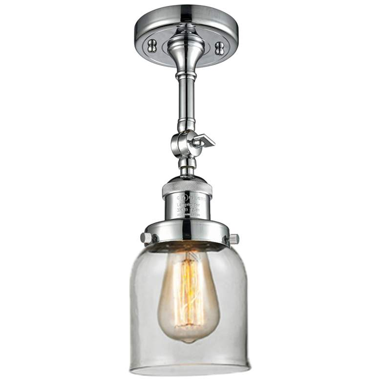 """Small Bell 5"""" Wide Polished Chrome Adjustable Ceiling Light"""