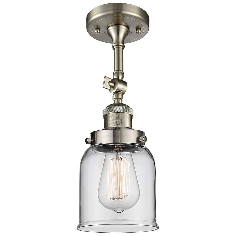 "Small Bell 5""W Satin Brushed Nickel Adjustable Ceiling Light"