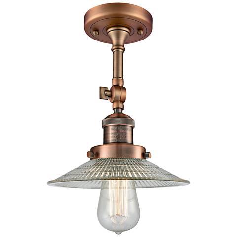 "Halophane 8 1/2""W Antique Copper Adjustable Ceiling Light"
