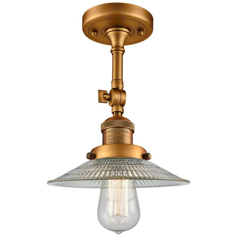 """Halophane 8 1/2"""" Wide Brushed Brass Adjustable Ceiling Light"""