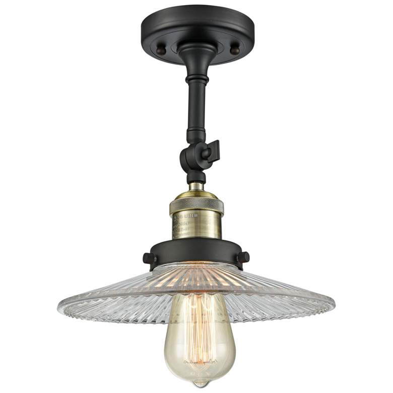 "Halophane 8 1/2""W Black and Brass Adjustable Ceiling Light"