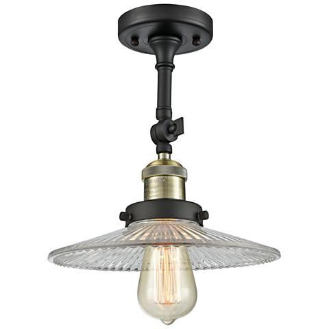 "Halophane 8 1/2""W Black and Brass Adjustable Ceiling Light"