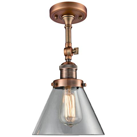 "Large Cone 8"" Wide Antique Copper Adjustable Ceiling Light"