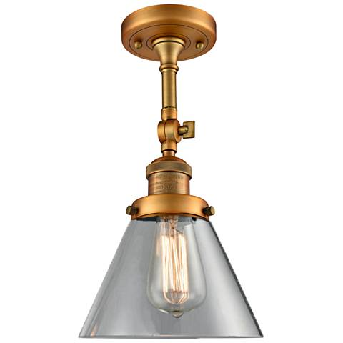 "Large Cone 8"" Wide Brushed Brass Adjustable Ceiling Light"