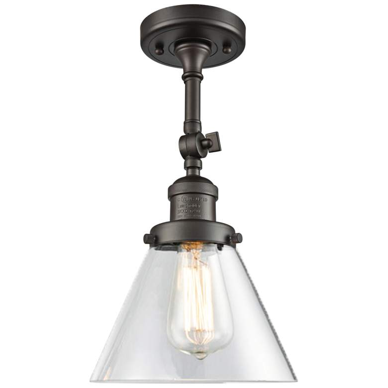"""Large Cone 8""""W Oil-Rubbed Bronze Adjustable Ceiling Light"""
