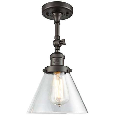 "Large Cone 8""W Oil-Rubbed Bronze Adjustable Ceiling Light"