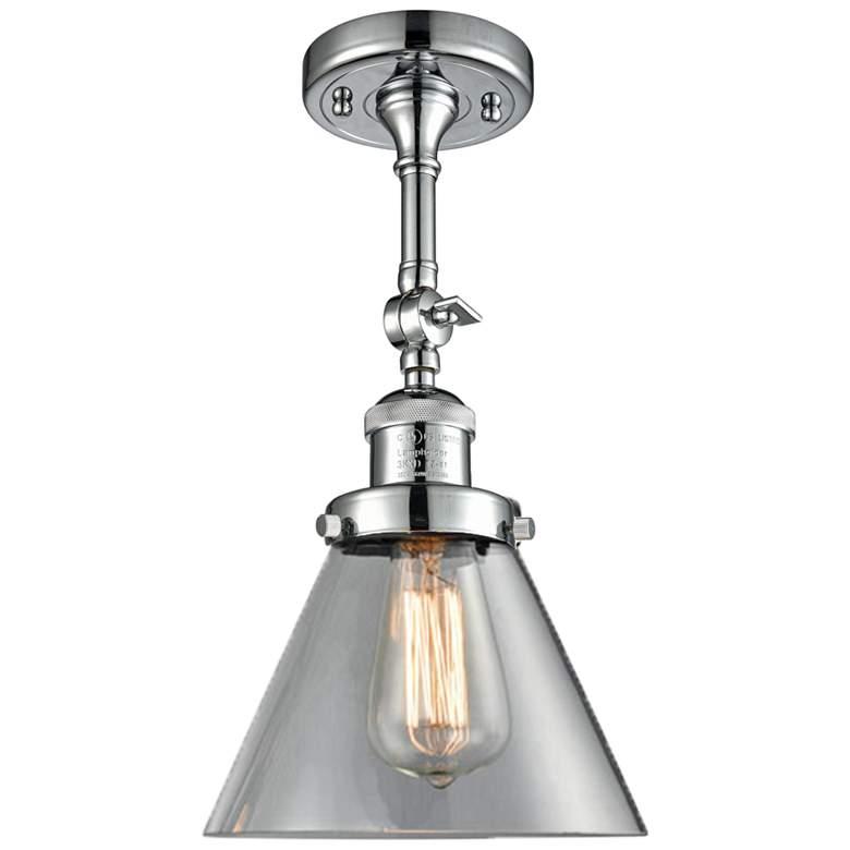 "Large Cone 8"" Wide Polished Chrome Adjustable Ceiling Light"