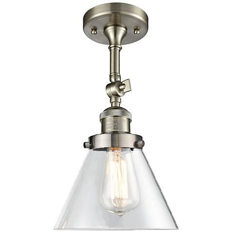 "Large Cone 8""W Satin Brushed Nickel Adjustable Ceiling Light"