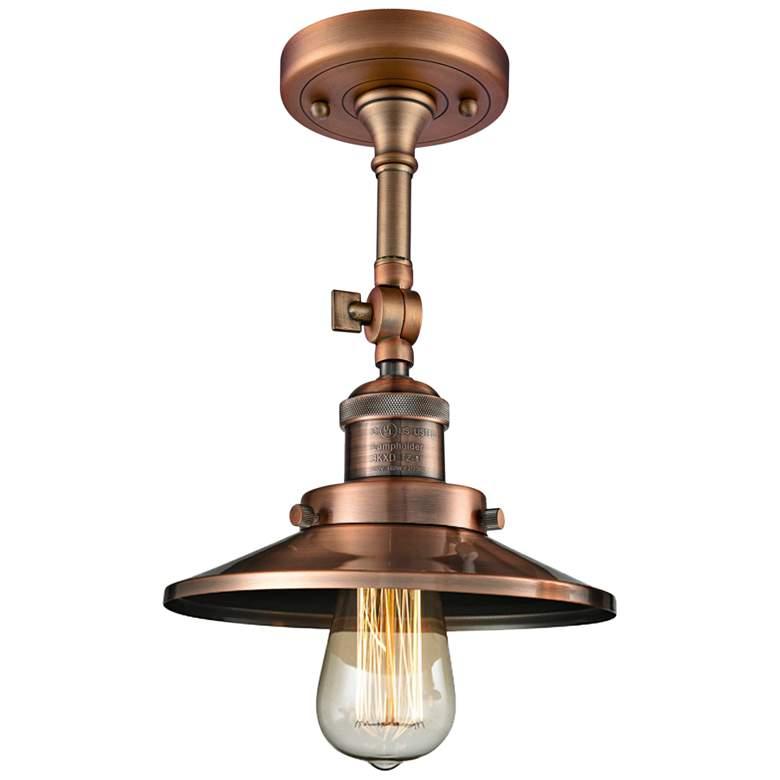 "Railroad 8"" Wide Antique Copper Adjustable Ceiling Light"