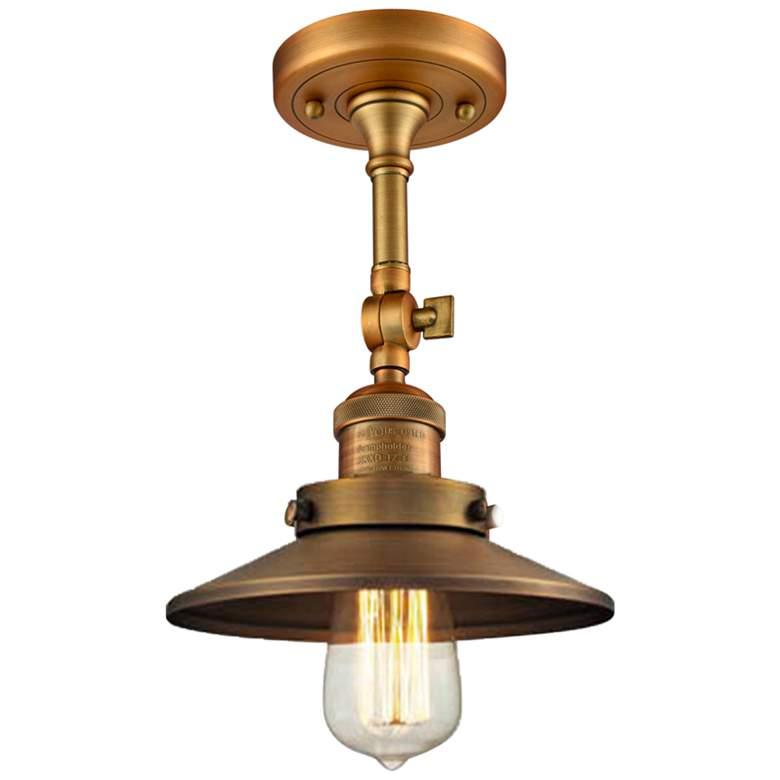 """Railroad 8"""" Wide Brushed Brass Adjustable Ceiling Light"""
