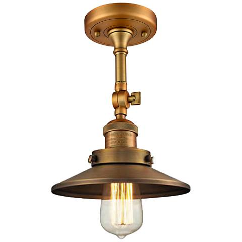"Railroad 8"" Wide Brushed Brass Adjustable Ceiling Light"
