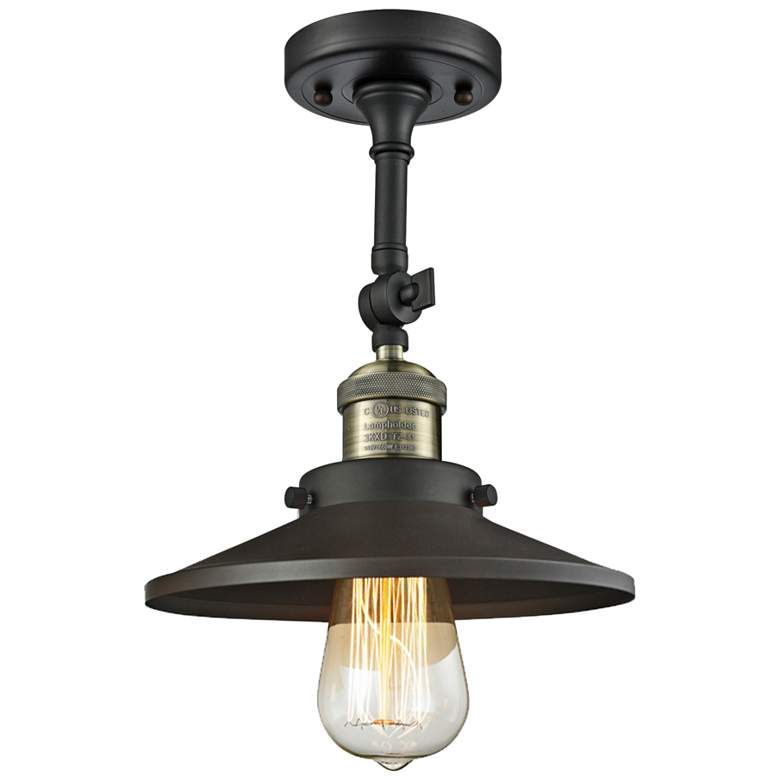 "Railroad 8"" Wide Black and Brass Adjustable Ceiling Light"