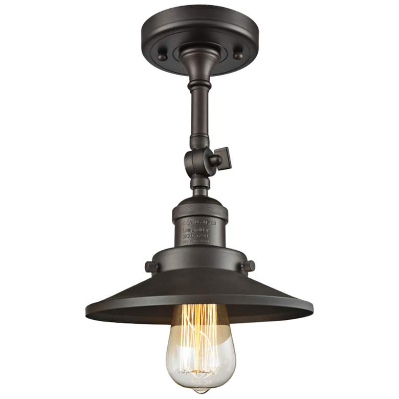 """Railroad 8"""" Wide Oil-Rubbed Bronze Adjustable Ceiling Light"""