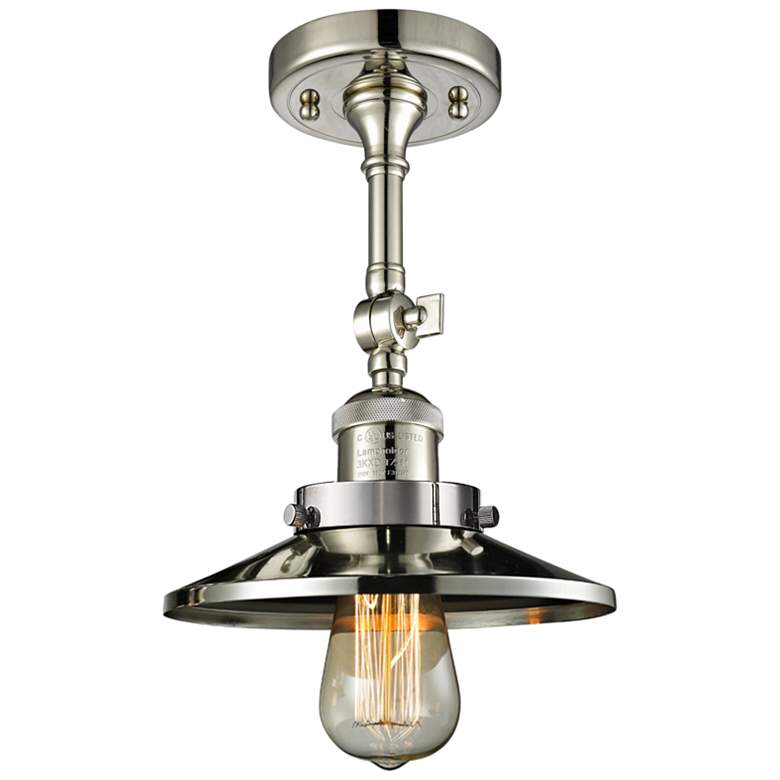 "Railroad 8"" Wide Polished Nickel Adjustable Ceiling Light"