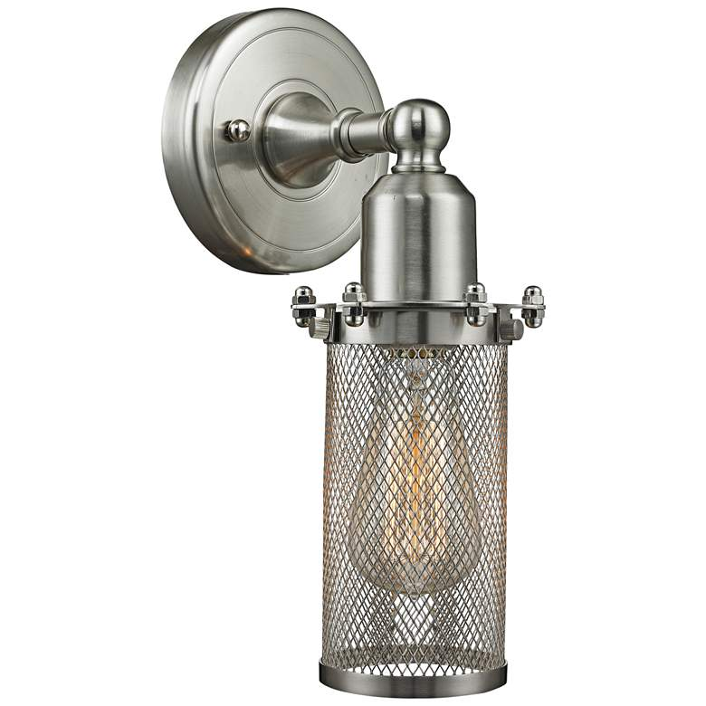 """Quincy Hall 10"""" High Satin Brushed Nickel A Wall Sconce"""