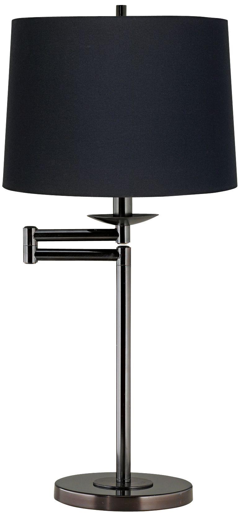 Exceptional Black Fabric Drum Shade Bronze Swing Arm Desk Lamp