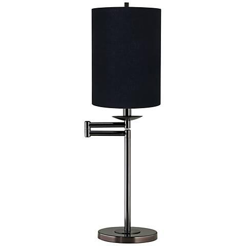 Black Cylinder Shade Bronze Swing Arm Desk Lamp