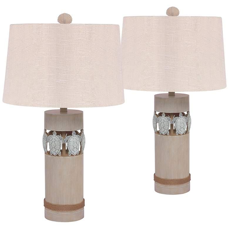 Antigua Sand Turtle Column Table Lamps Set of 2
