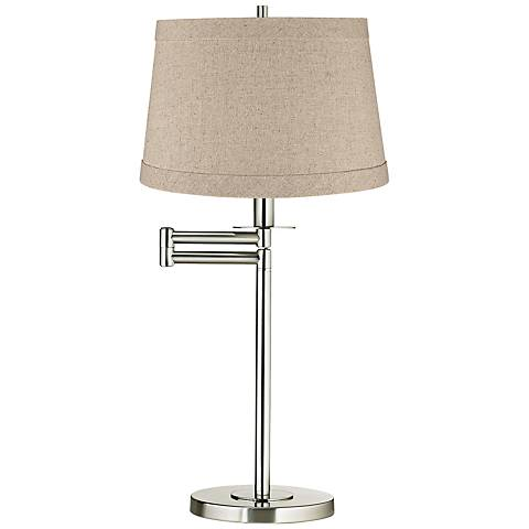 Natural Linen Drum Brushed Nickel Swing Arm Desk Lamp