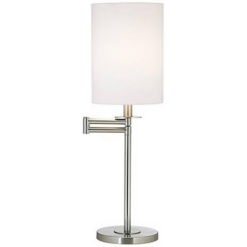 White Cotton Brushed Nickel Finish Swing Arm Desk Lamp