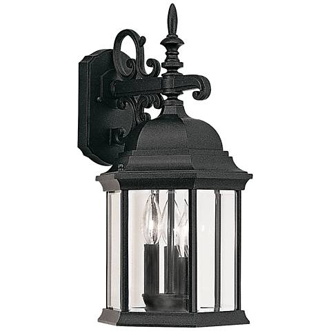 "Devonshire 19"" High Clear Glass Black Outdoor Wall Light"