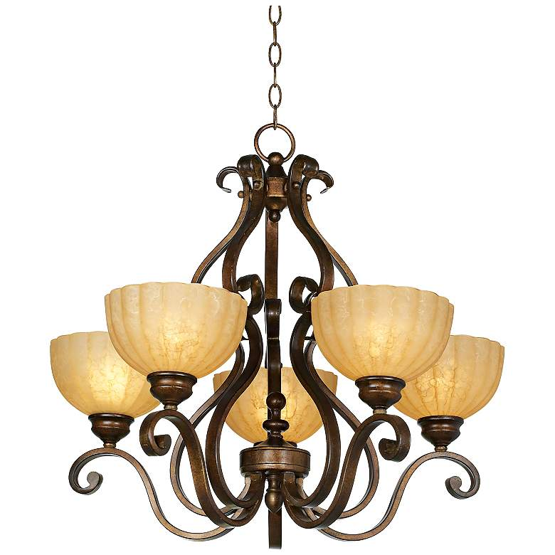 "Iron Scroll 28"" Wide Golden Bronze Five-Light Chandelier"
