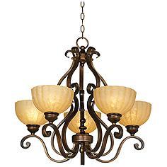 Iron Scroll Golden Bronze Five-Light Chandelier