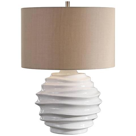 Uttermost Gisasa Crackled Gloss White Ceramic Table Lamp
