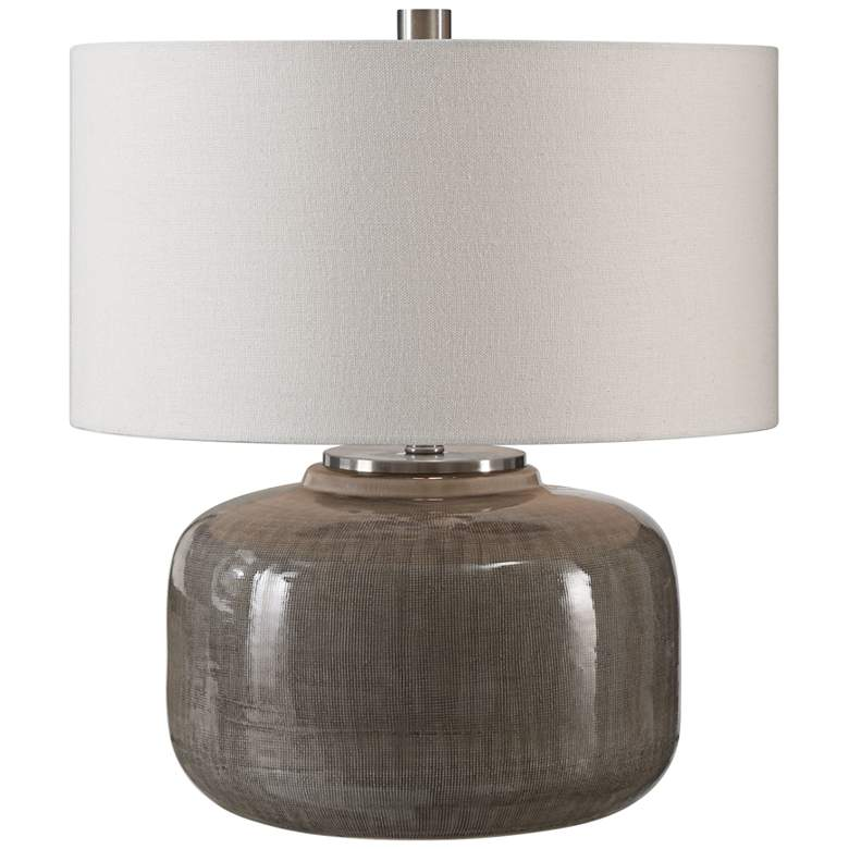 Uttermost Dhara Warm Gray Glaze Ceramic Accent Table Lamp