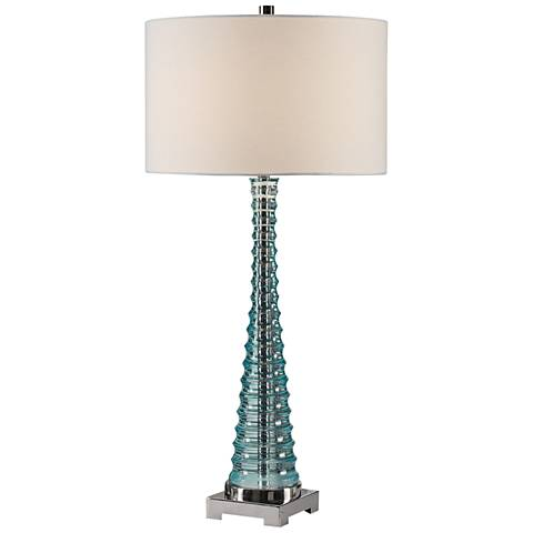 Uttermost Mecosta Translucent Sky Blue Table Lamp
