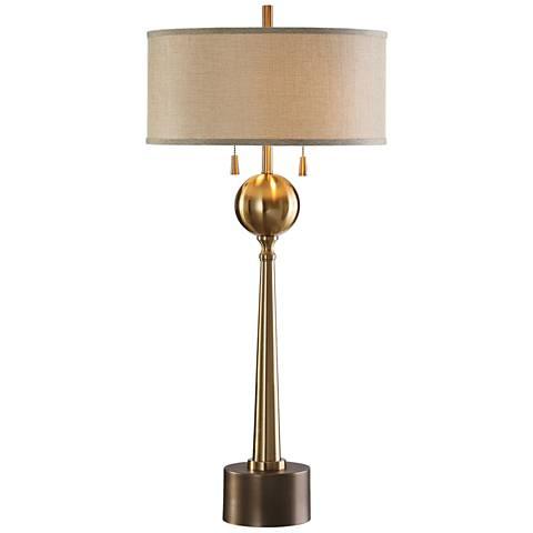 Uttermost Kensett Plated Brushed Brass Column Table Lamp