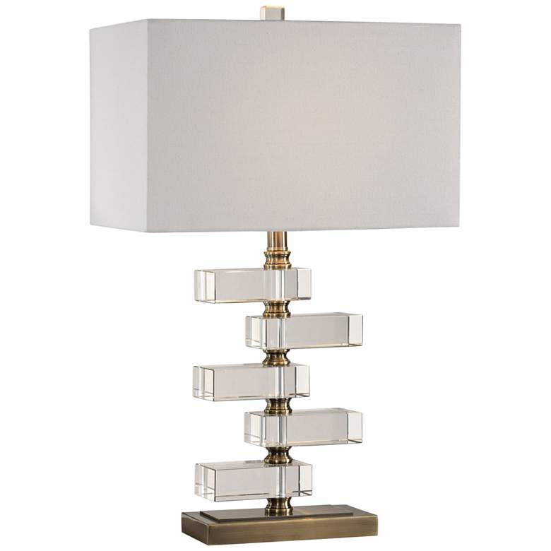 Uttermost Spilsby Crystal and Antique Brass Table Lamp