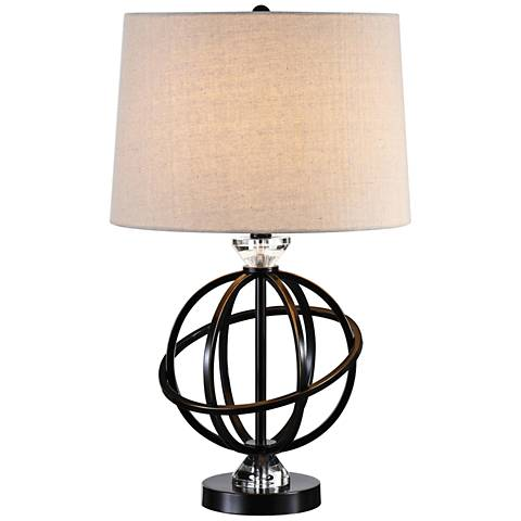 Uttermost Armilla Gloss Black with Gold Tipping Table Lamp