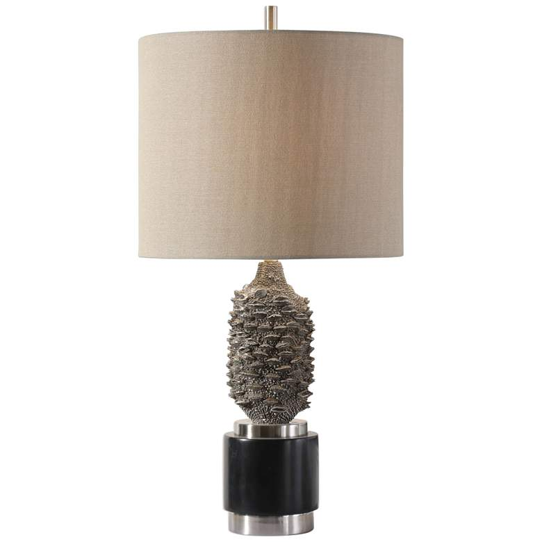 Uttermost Banksia Gray Wash and Black Accent Table Lamp
