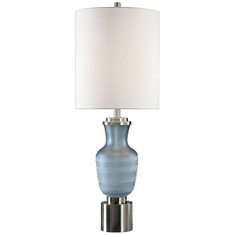 Uttermost Acciano Frosted Blue Glass Buffet Table Lamp