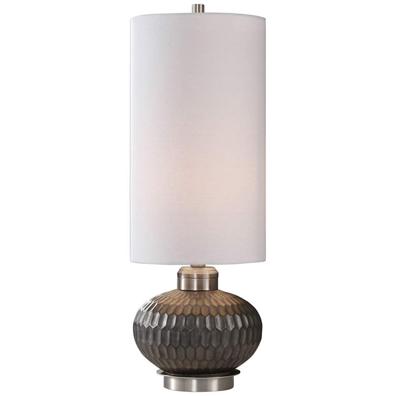 Bresca Textured Aged Black Honeycomb Buffet Table Lamp
