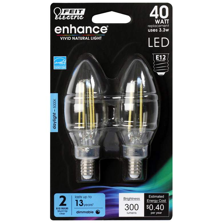 40W Equivalent Clear 3.3W LED E12 Torpedo Bulb 2-Pack
