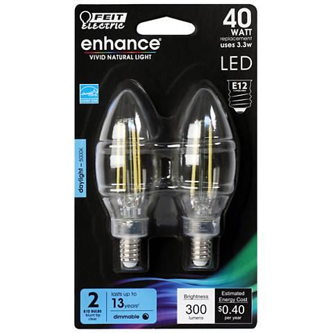 40W Equivalent Clear 3.3W LED E12 Torpedo Bulb 2-Pack