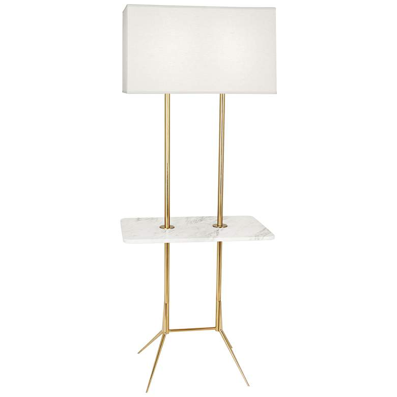 "Martin 60 1/2""H Modern Brass Floor Lamp with Marble Table"