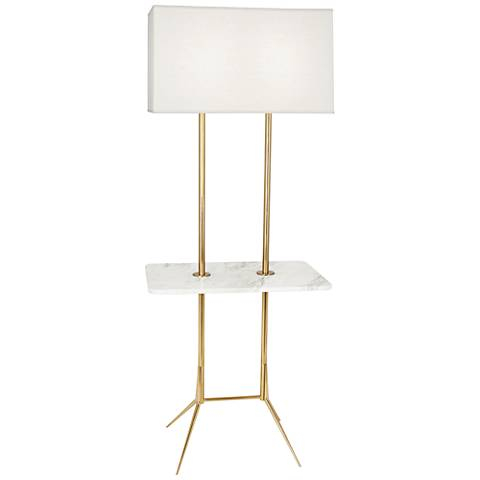 Martin Modern Brass Floor Lamp with Marble Tray Table