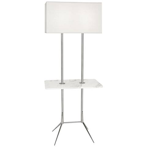 """Martin 60 1/2""""H Modern Nickel Floor Lamp with Marble Table"""
