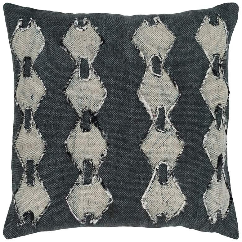 "Surya Panta Black Charcoal 20"" Square Modern Throw Pillow"