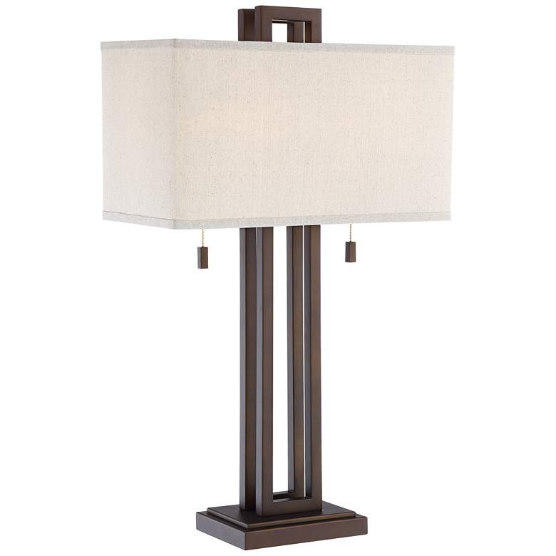 Gossard Double Rectangle Bronze Table Lamp