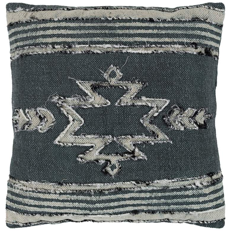 "Surya Batu Charcoal Black and Gray 20"" Square Throw Pillow"