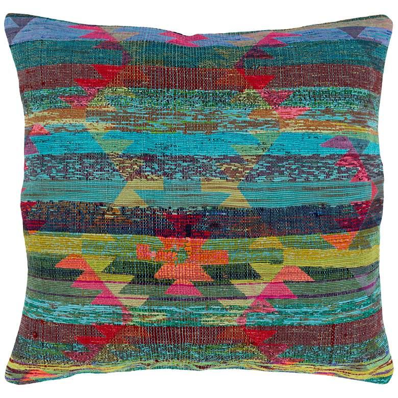 "Surya Thames Aqua and Dark Green 20"" Square Pillow Kit"