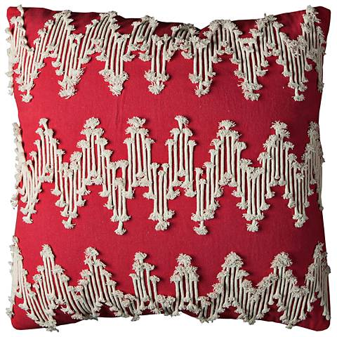 """Red Frayed Chevron 20"""" Square Decorative Filled Pillow"""