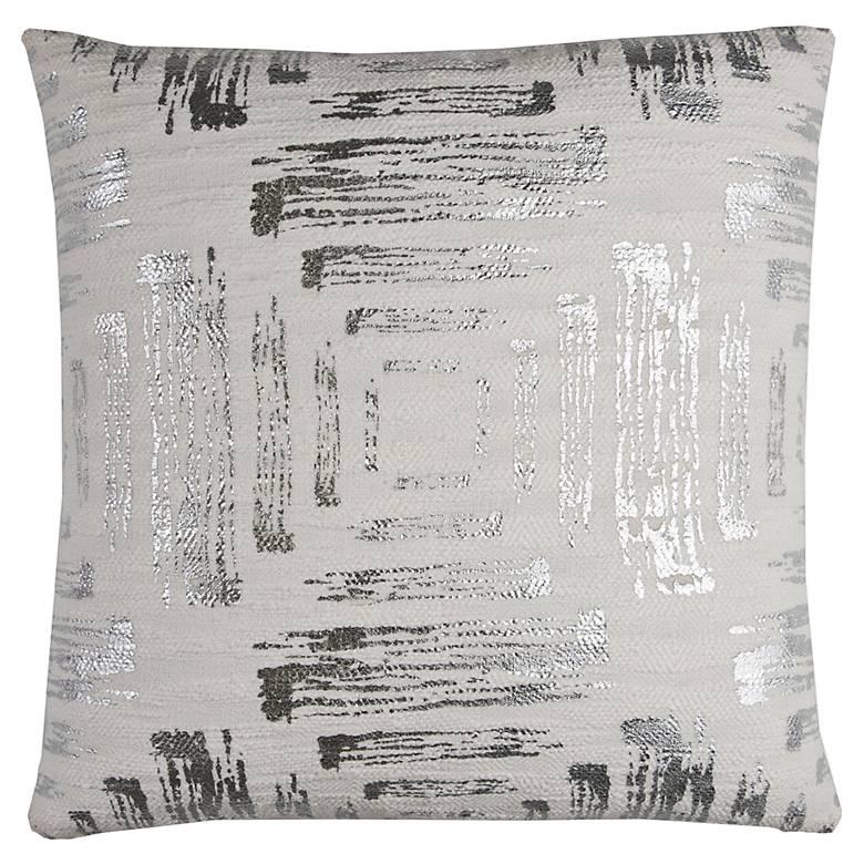 "White and Silver Foil Print 20"" Square Decorative Pillow"